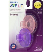 Philips Avent BPA Free Soothie Pacifier,Color May Vary 0-3m 2 ea [075020016829]