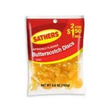 Sathers Butterscotch Disks 12 pack (3.6 oz per pack) [075602101479]