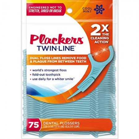 PLACKERS Twin-Line Dental Flossers, Cool Mint 75 each [651080596510]