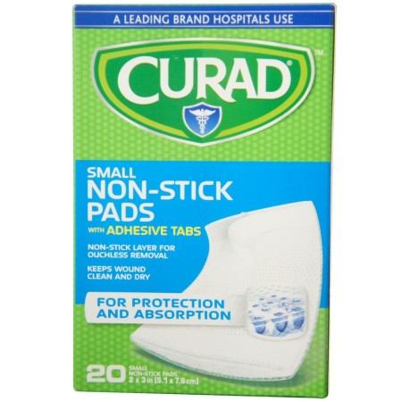 Curad Small Non-Stick Pads With Adhesive Tabs 2 Inches X 3 Inches 20 Each [080196300023]