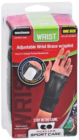Mueller Sport Care Wrist Brace With Splint One Size Black [300] 1 Each [074676300016]