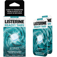 Listerine Ready! Tabs Chewable Tablets with Clean Mint Flavor, Revolutionary 4-Hour Fresh Breath Tablets, Sugar-Free & Alcohol-Free, 16 ea [312547386661]