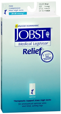 JOBST Medical LegWear Knee High 20-30 mmHg Firm Compression X-Large Beige Open-Toe 1 Pair [035664146283]