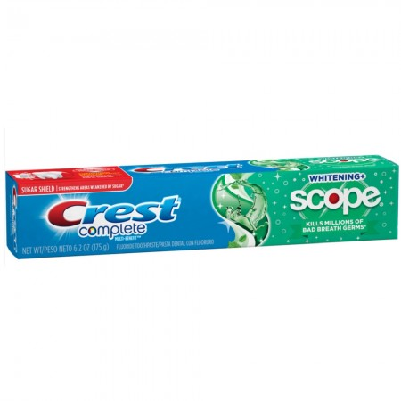 Crest Complete Multi-Benefit Fluoride Toothpaste, Whitening + Scope, Minty Fresh 6.2 oz [037000385844]