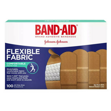 BAND-AID Flexible Fabric Adhesive Bandages 3/4 Inch X 3 Inches 100 ea [381370044345]