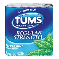 TUMS Regular Strength Antacid Chewable Tablets, Peppermint 36 ea [307660740629]