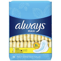 Always Maxi, Size 1, Regular Pads With Wings, Unscented 36 ea [037000305651]