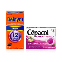 Delsym Adult 12 Hr Cough Relief Liquid, Grape 5 oz & Cepacol Extra Strength Sore Throat & Cough Drop Lozenges, Mixed Berry 16 ea 1 ea [191567204700]