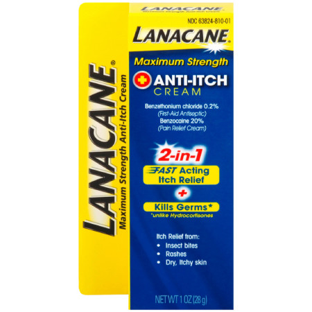 Lanacane Maximum Strength Anti-itch Cream 2in1 Fast Acting Itch Relief and Kills Germs 1 oz [363824050072]