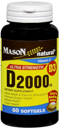 Mason Natural Vitamin D 2000 IU Softgels Ultra Strength 60 Soft Gels [311845150158]