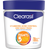 Clearasil Stubborn Acne Control 5in1 Daily Facial Cleansing Pads, 90 Count (Packaging may vary) [839977006438]