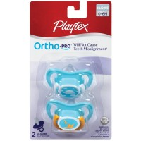 Playtex Ortho-Pro Silicone 0-6 Month Pacifier, Colors May Vary 2 ea [078300001300]