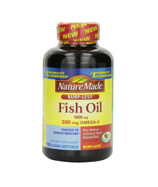 Nature made burp less fish oil 1000mg liquid softgels for Nature made fish oil