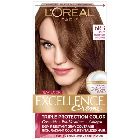 L'Oreal Excellence Creme Triple Protection Hair Color, Light Reddish Brown (Warmer) [6RB] 1 Each [071249210635]