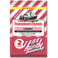 Fisherman's Friend Cough Drops Bag, Cough Suppressant Lozenges Sugar Free Cherry Menthol 40 ea [853236005123]