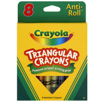 Crayola Anti-Roll Triangular Crayons, Assorted Colors 8 ea [071662140083]