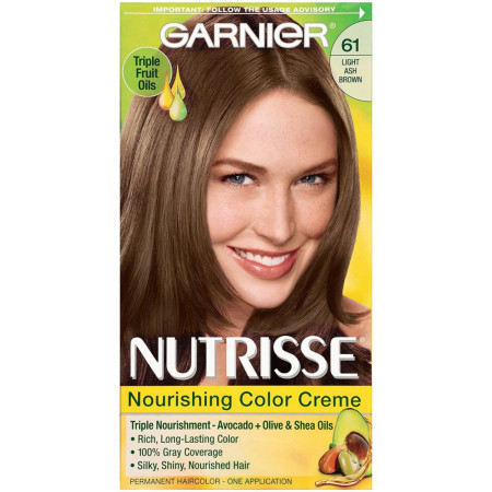 Garnier Nutrisse Haircolor, 61 Light Ash Brown 1 ea [603084242658]