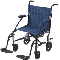 Drive Medical Fly Lite Ultra Lightweight Transport Wheelchair, Blue Frame 1 [822383137377]