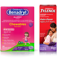 Benadryl Children Allergy Relief Chewables, Grape Flavored 20 ea &  Children's Tylenol Oral Suspension, Fever Reducer & Pain Reliever, Grape 4 oz 1 ea [191897104220]