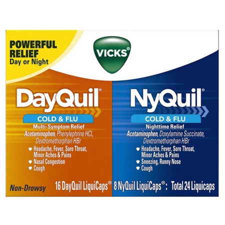 Vicks Dayquil & Nyquil Cold & Flu Relief Combo Pack LiquiCaps 24 ea [323900038493]