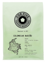 For Five Coffee Roasters Colombian Nariño Whole Bean 12 oz [853473008086]