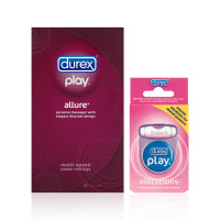 Durex Play Pleasure Pack with Allure Vibrating Personal Massager (1cnt) and Vibrations Ring (1cnt), Batteries Included 1 ea [191567823130]