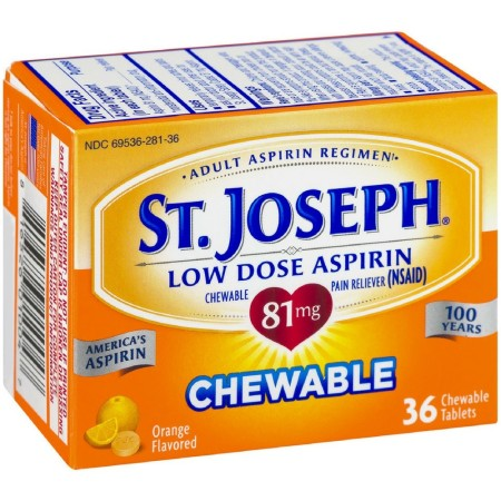 St. Joseph Orange Chewable 81mg Aspirin, 36 Tablets [816526010047]