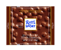 Ritter Sport Bars, Milk Chocolate with Whole Hazelnuts, 3.5 oz bars, 10 ea [050255019609]