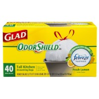 Glad Odor Shield Tall Drawstring Kitchen Trash Bags, 13 Gallon, Fresh Lemon Scent, White 40 ea [012587783665]