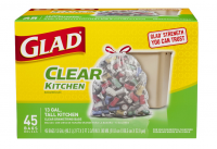 Glad Recycling Tall Kitchen Drawstring Trash Bags, 13 Gallon, Clear 45 ea [012587785430]