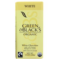 Green & Black's Organic White Chocolate Bar, 3.5 oz bars, 30% Cacao, 10 bars [708656100036]