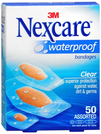 Nexcare Waterproof Clear Bandages Assorted 50 Each [051131997608]