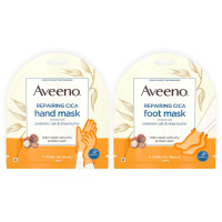 Aveeno  Repairing CICA Foot Mask&Hand Mask with Prebiotic Oat and Shea Butter, for Extra Dry Skin, Paraben-Free and Fragrance-Free, 1 ea [191567486557]
