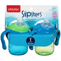Playtex Sipsters Stage 1 Spill-Proof, Leak-Proof, Break-Proof Soft Spout 6 Ounce Sippy Cups, Assorted Colors 2 ea [078300056621]