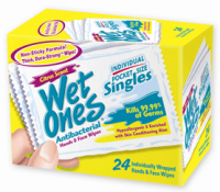 WET ONES Moist Towelette, Antibacterial, Citrus, Singles 24 ea [076828047305]