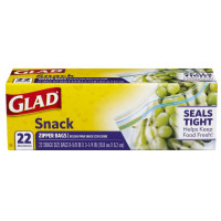 Glad  Zipper Snack Food Storage Bags 22 ea [012587787434]