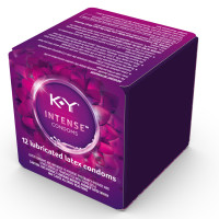 K-Y  Intense Latex Condoms (12 cnt), Discreetly Packaged With Silicone-Based Lubricant, Ribbed & Dotted With Specially Formulated Lube  1 ea [067981087253]