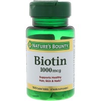 Nature's Bounty Biotin 1000 mcg Vitamin Supplement Tablets 100 ea [074312079610]