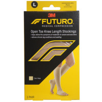 FUTURO Therapeutic Knee Length Stockings Open Toe Firm Large Beige 1 Pair [051131215979]