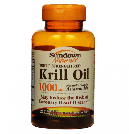 Sundown Naturals Krill Oil 1000 mg Softgels Triple Strength Red 60 Soft Gels [030768295455]
