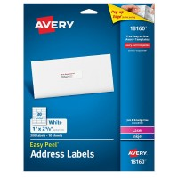 Avery Address Ink Jet Labels 1 x 2.6 Inches, White 300 ea [072782181604]