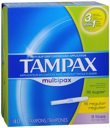 Tampax Multipax Tampons Assorted Absorbencies 40 Each [073010520288]