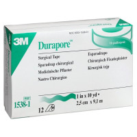 "3M Medical Tape Durapore Silk-Like Cloth 1"" X 10 Yard White NonSterile, 12 ea [707387007423]"