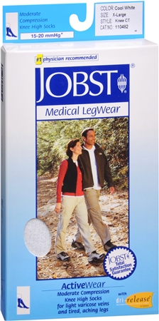 JOBST ActiveWear Knee High Socks Moderate Compression Closed Toe Cool White X-Large 1 Pair [035664104825]