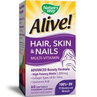 Nature's Way Alive! Hair, Skin & Nails Multi-Vitamin Softgels, Strawberry Flavored 60 ea [033674110942]