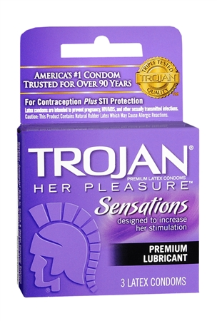 TROJAN Her Pleasure Condoms Lubricant Latex 3 Each [022600973201]