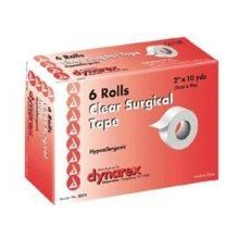 "Dynarex Transparent Surgical Tape 2""X10YD  6 pack [616784357324]"
