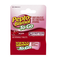 Pepto-Bismol To-Go Chewable Tablets Cherry 12 ea [301490000106]