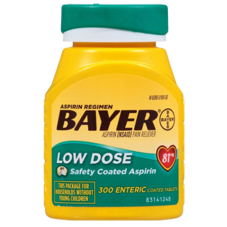Bayer 81mg Enteric Low Dose Pain Relief Aspirin Tablets 300 ea [312843536425]