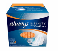 Always Infinity Maxi Pads w/FlexiFoam Overnight 14 ea [037000117155]